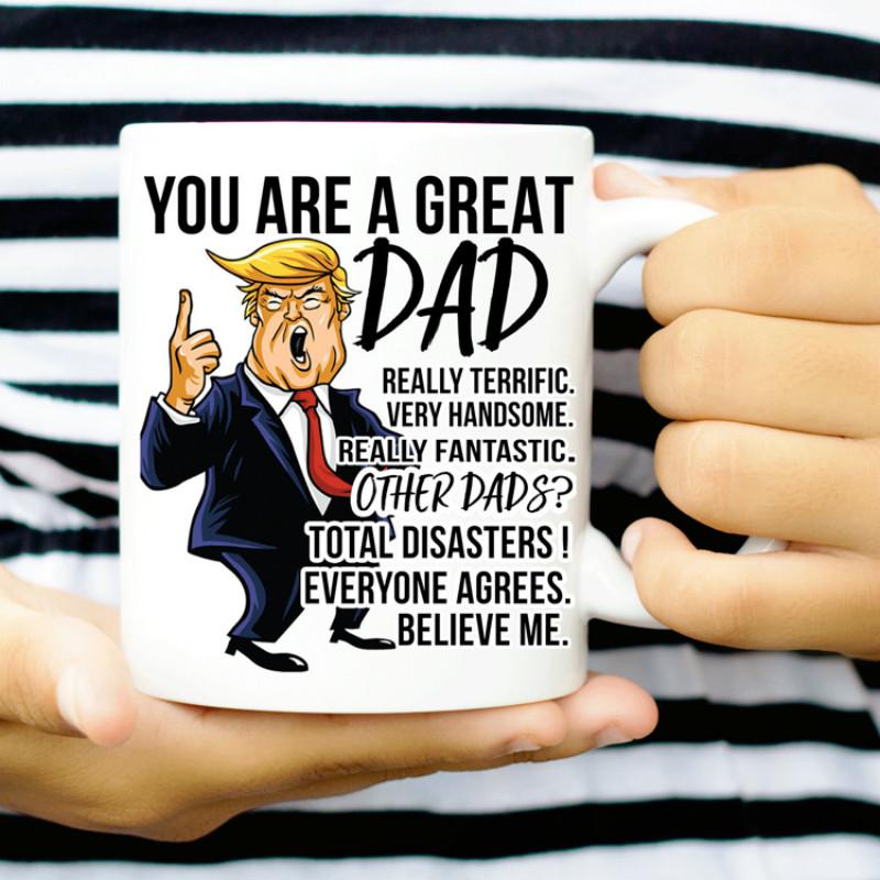 3397ea36d94 Funny President Donald Trump Cartoon Coffee Mug Dad Coffee Mug as Father's  Day Gift