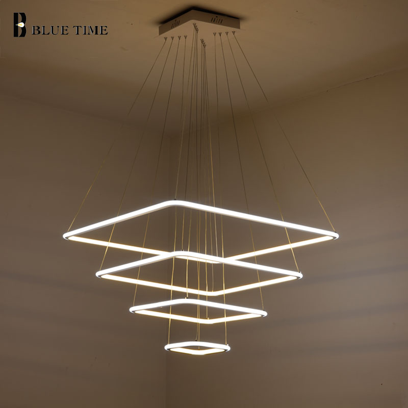 80CM 60CM 40CM Modern 3 Square Rings LED Pendant Lights For Living Room Dining Light