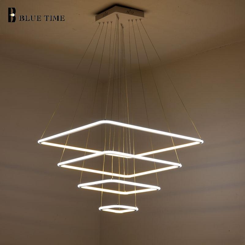 80CM 60CM 40CM Modern 3 Square Rings LED Pendant Lights For Living Room Dining Light