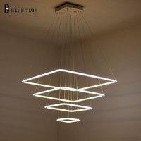 80 см 60 см 40 см современный 3 квадратный кольца Led Открытый Подвесные Светильники для Гостиная столовая свет подвесной светильник подвесной п
