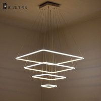 New Modern 3 Square Rings LED Pendant Lights For Living Room Dining Room Light LED Lustre