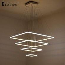 80 см 60 см 40 см современный 3 квадратных кольца led подвесные светильники для Гостиной столовая свет Подвесной Светильник Подвесной Потолок светильник