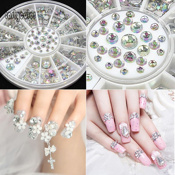 Hot sale nail art salon diy decoration bling rhinestone crystal hot sale nail art salon diy decoration bling rhinestone crystal glitter with wheel white nail rhinestones uv nail beads gem in rhinestones decorations prinsesfo Images