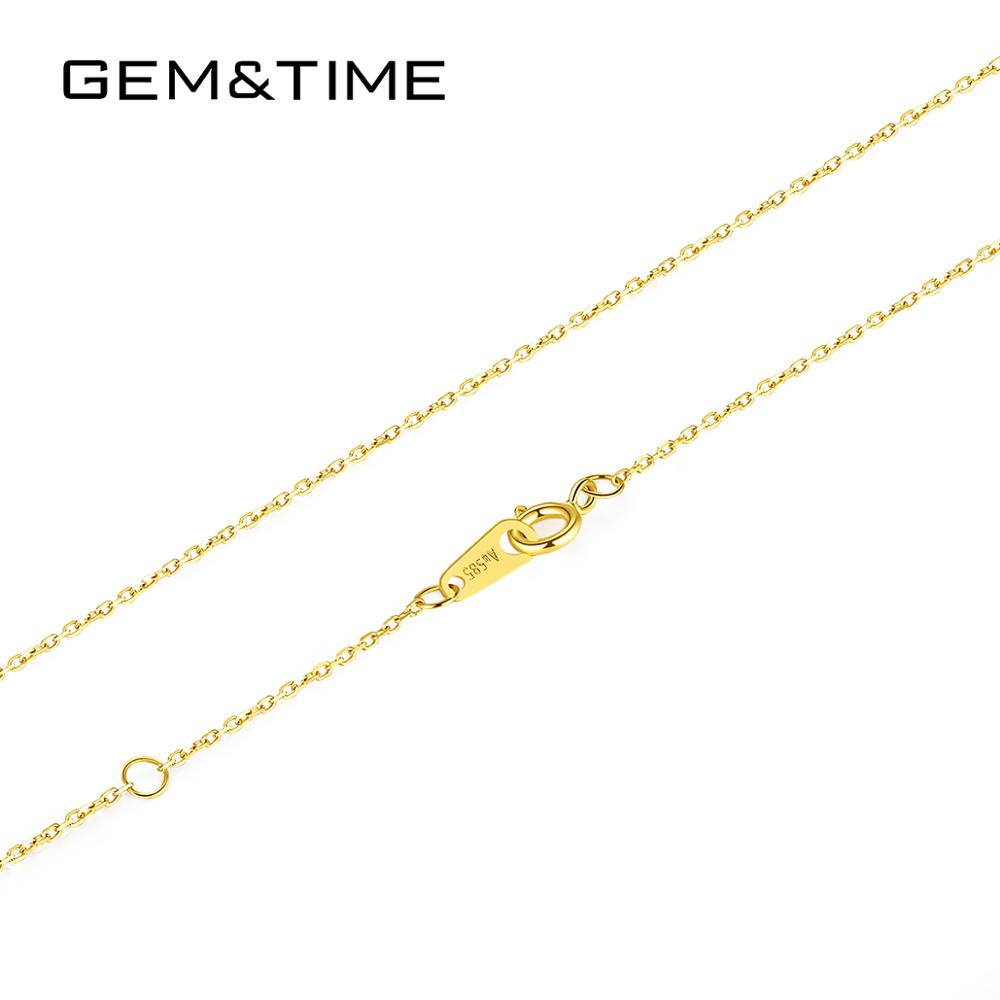 Gem&Time Genuine 14K Gold Link Chain Necklace for Women 14K Gold 585 Charm Chain Clavicle Fine Female Accessories N14139