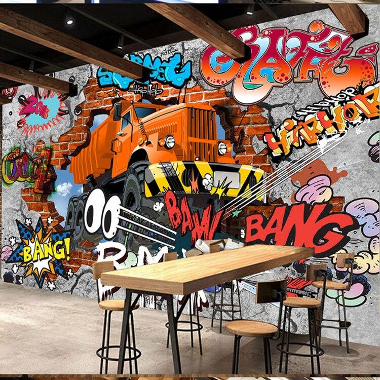Custom Poster Photo Wallpaper Retro Nostalgia 3D Cartoon Car Graffiti Mural Wallpaper For Living Room TV Backdrop Wall Paper nostalgia car license plate large mural 3d wallpaper tv backdrop living room bedroom 3d wallpaper videos tv stereo 3d wallpaper