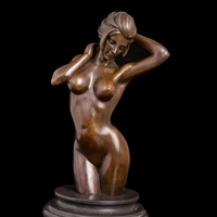ATLIE Copper Brass CHINESE crafts Asian Western Sculpture Bronze Nude Sexy Girl Bust Naked Woman Statue Copper Marble Craft Art