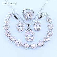 L & B Австралия Кристалл Water Drop серебро 925 Ювелирные Наборы Для Женщин Браслет/Серьги/Ожерелье/Кулон/кольца