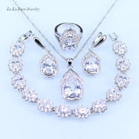 Australia Crystal Water Drop 925 Sterling Silver Jewelry Sets For Women Bracelet Earrings Necklace Pendant Rings