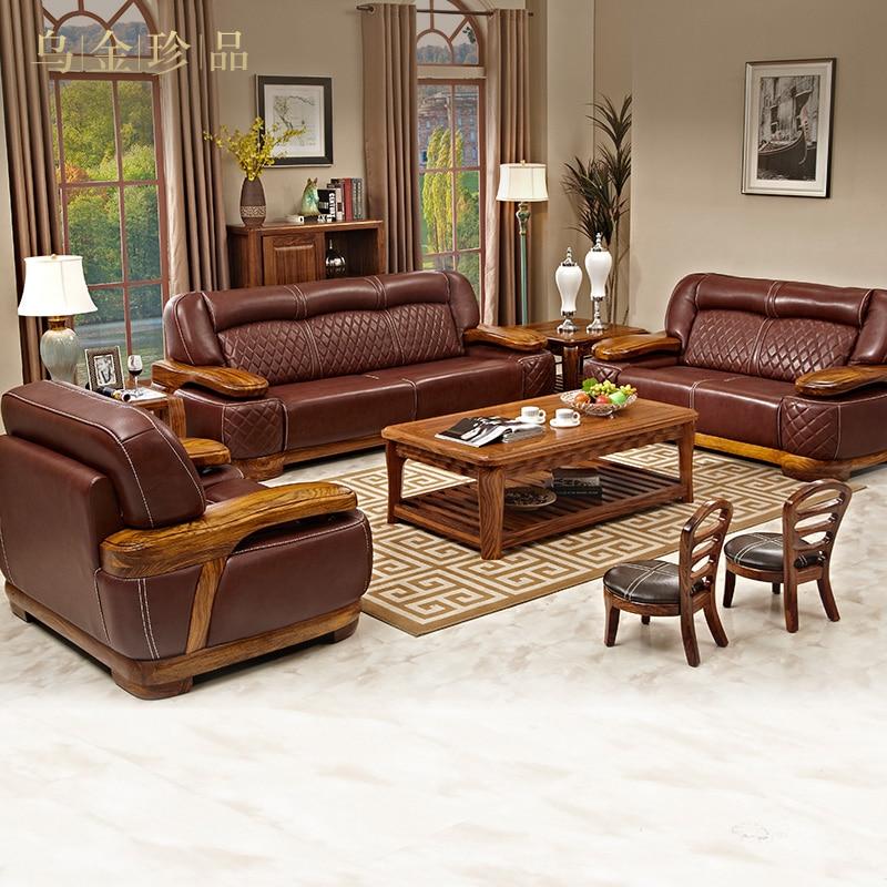 Genuine Leather Sofa Set Living Room Furniture Muebles De