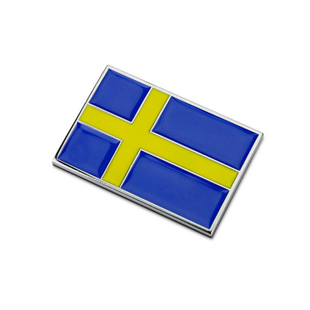 Bbqfuka 1pc metal sweden swedish flag car chrome side body badge emblem sticker fit