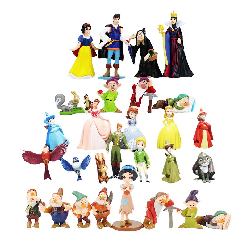 3-8cm PVC Princess Snow White Snow White And The Seven Dwarfs Queen Prince Figure Play House Toys Figures Dolls For Gifts