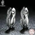 Authentic 925 Sterling Silver Twist Of Fate Earrings, Clear CZ Earrings Jewelry for Women boucle d'oreille femme S465