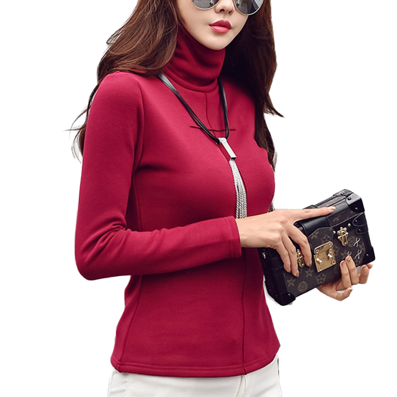 2019 Autumn Winter Elegant cotton blouses warm velvet Turtleneck blouse shirt women tops plus size women clothing blusas