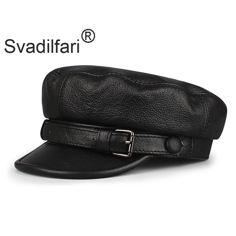 Svadilfari Men Army Hat Leather Military Caps Male Casual Black Captain Hats Retro Spring Adjustable Luxury Classic Flat Top Cap image