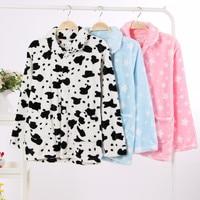 Female flannel pajama top winter sleep top thicken warm loose plus size fleece home