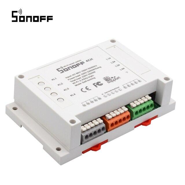 Sonoff 4CH Wifi anahtarı akıllı ev 4 kanal uzaktan kumanda ev otomasyon modülü açık/kapalı kablosuz zamanlayıcı DIY anahtarı din raylı montaj