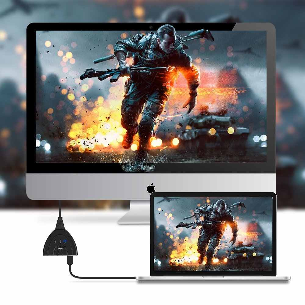 3-Port Splitter Switch HDMI com Cabo Pigtail e Auto Interruptor Apoio 3D & Full HD 1080 p para HDTV, PS3, Xbox One, 360, Bluray