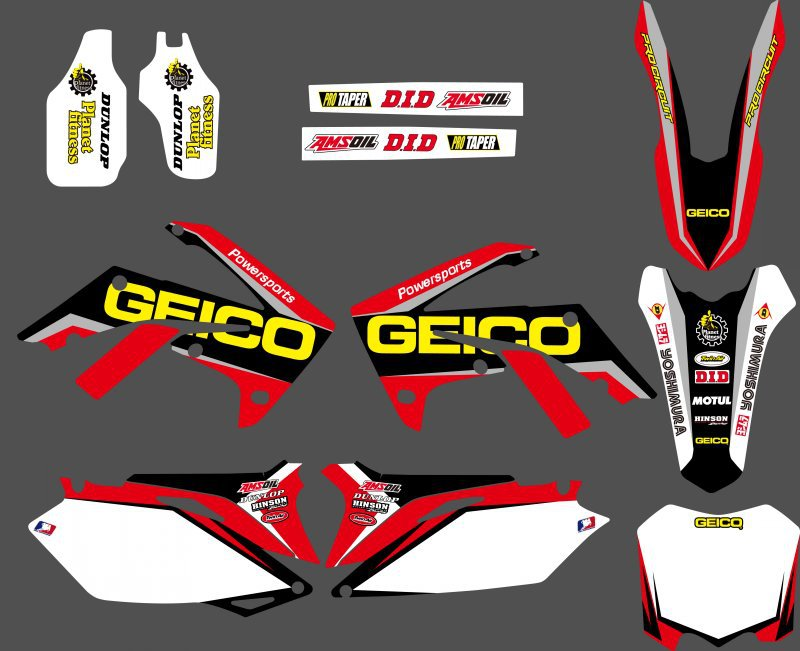 0096 NOU STYLE TEAM GRAFICA & BACKGROUNDS STICKELE DE DECAL Kituri pentru CRF250R CRF250 2010-2013 & CRF450R CRF450 2009 -2012