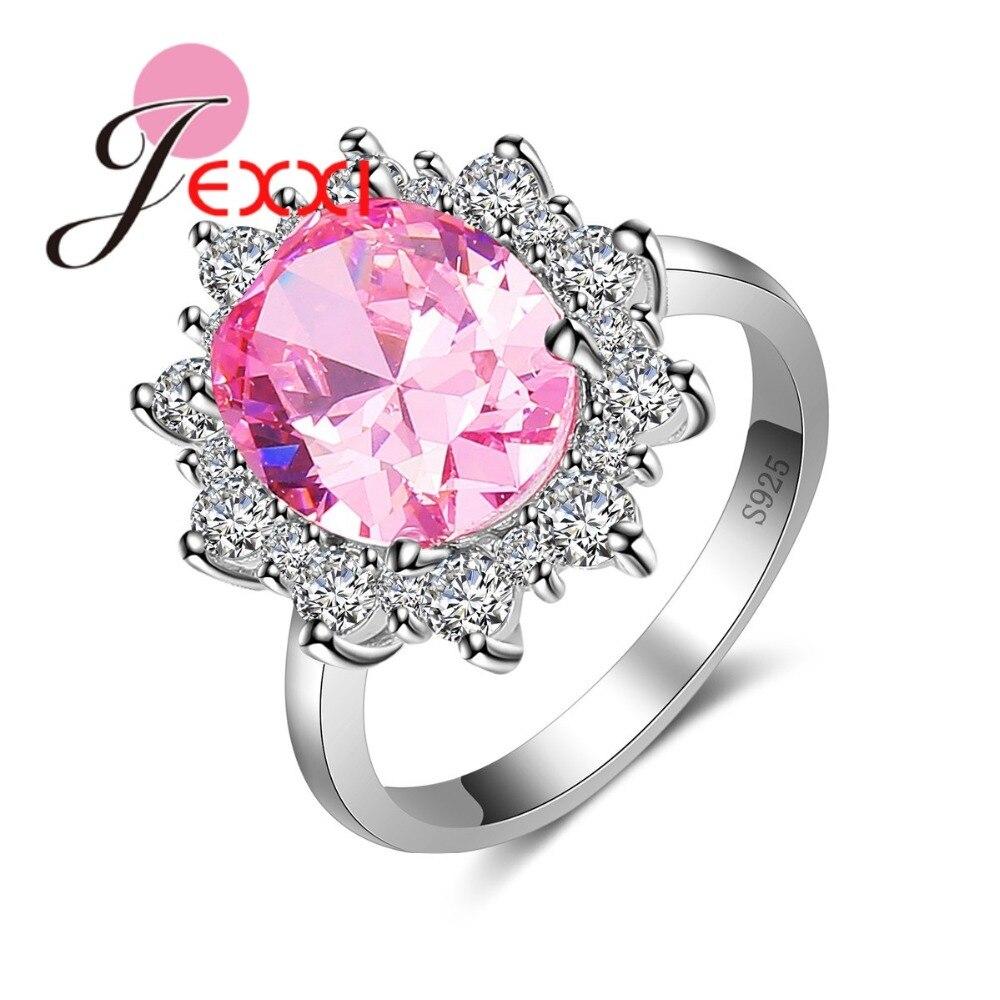 Jexxi Luxury Light Pink British Princess Cut Engagement Ring Women Aaa  Zircon Crystal Wedding Rings 925