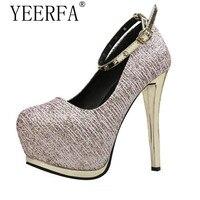 Yeerfa مضخات عالية الكعب مثير الفضة الزفاف أحذية الكعوب منصة أحذية النساء الذهب رصع الكعوب مساء حزب أحذية النساء الكعوب
