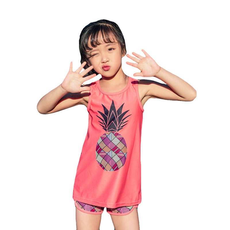 Little Girls Kids Two-Piece Tankini Swimsuit Children\'s Split Swimsuit Swimming Suit Girls Kids Top and Pants Suit Swimwear(China)