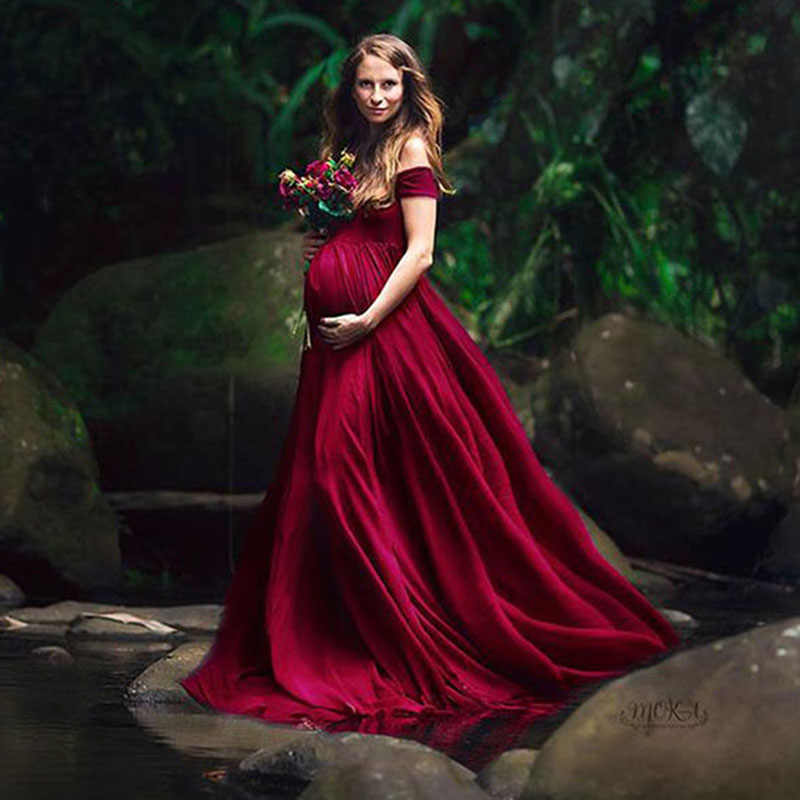 Элегантные платья для беременных для фотосессии Сексуальная V шеи с плеча для фотографирования беременных платье для беременных Для женщин вечерние Макси платье