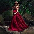 Vestidos de maternidad elegantes para sesión de fotos Sexy cuello en V de hombro embarazo fotografía vestido mujeres embarazadas fiesta Maxi vestido
