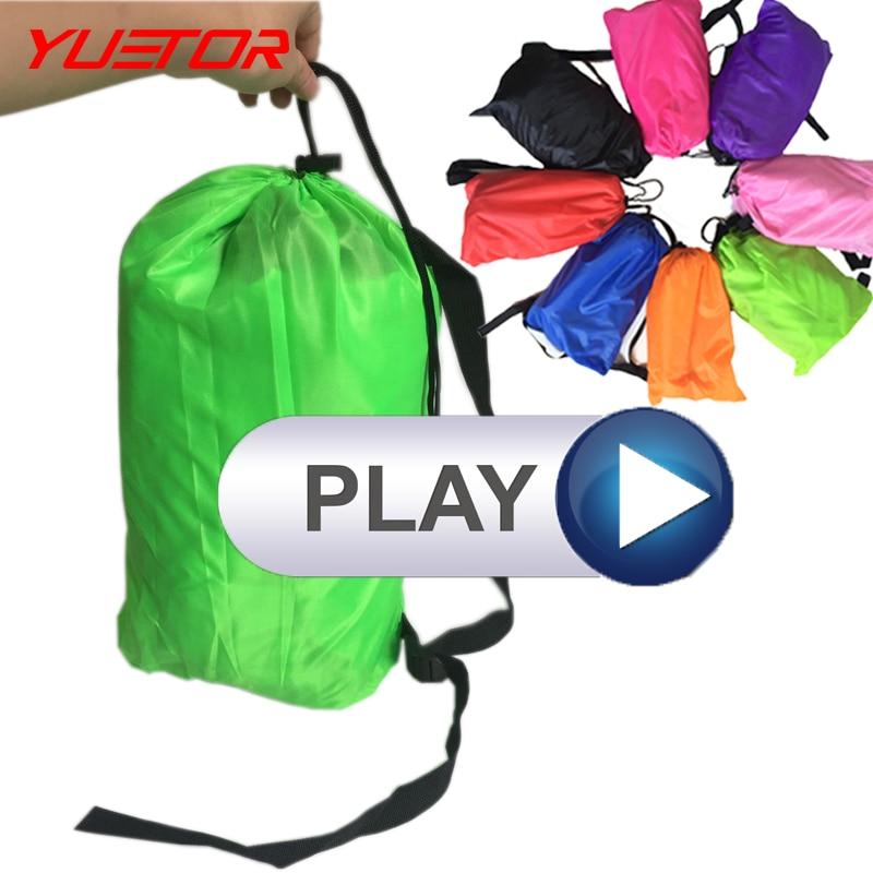 Marka YUETOR hızlı şişme uyku laybag 10 renkler mekân kamp seyahat açık plaj şişme hava kanepe