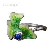 925 Sterling Silver Enamel Lotus Leaf Ring With Lapis Lazuli For Women Girls Adjustable Free Shipping