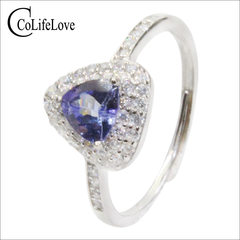 CoLife Jewelry 925 silver tanzanite engagement ring for woman 5.5mm trillion cut natural tanzanite ring silver tanzanite jewelryCoLife Jewelry 925 silver tanzanite engagement ring for woman 5.5mm trillion cut natural tanzanite ring silver tanzanite jewelry