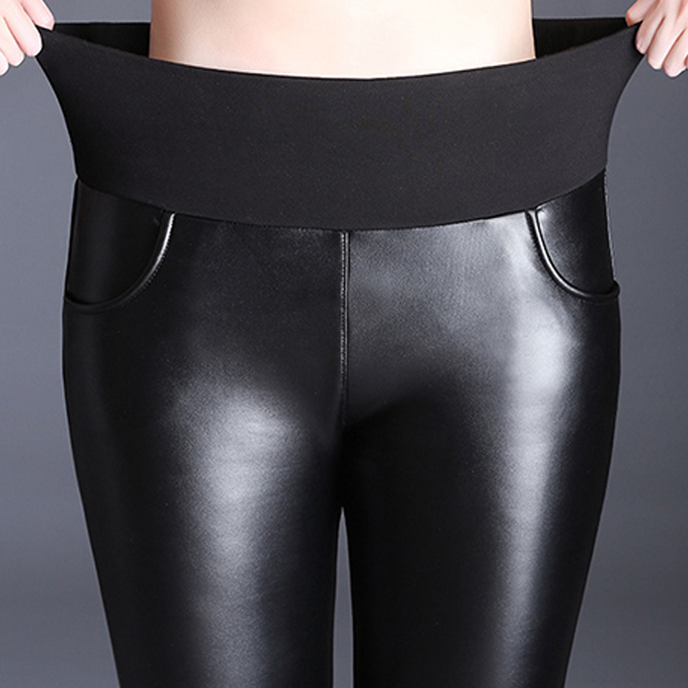 Autumn Winter Plus Velvet PU Leather Pants Women High Waist Stretch Pencil Pants Trousers Plus Size 5XL 6XL Women Pants Leggings
