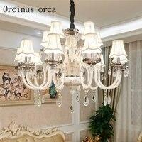 Estilo europeu de luxo branco lustre de cristal lustre de vidro sala de estar sala de jantar Francês cerâmica frete grátis|crystal chandelier|white crystal chandelier|chandeliers free shipping -