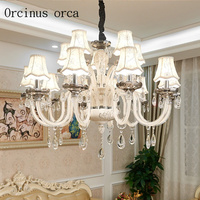 European style luxury white crystal chandelier living room dining room French ceramic glass chandelier free shipping