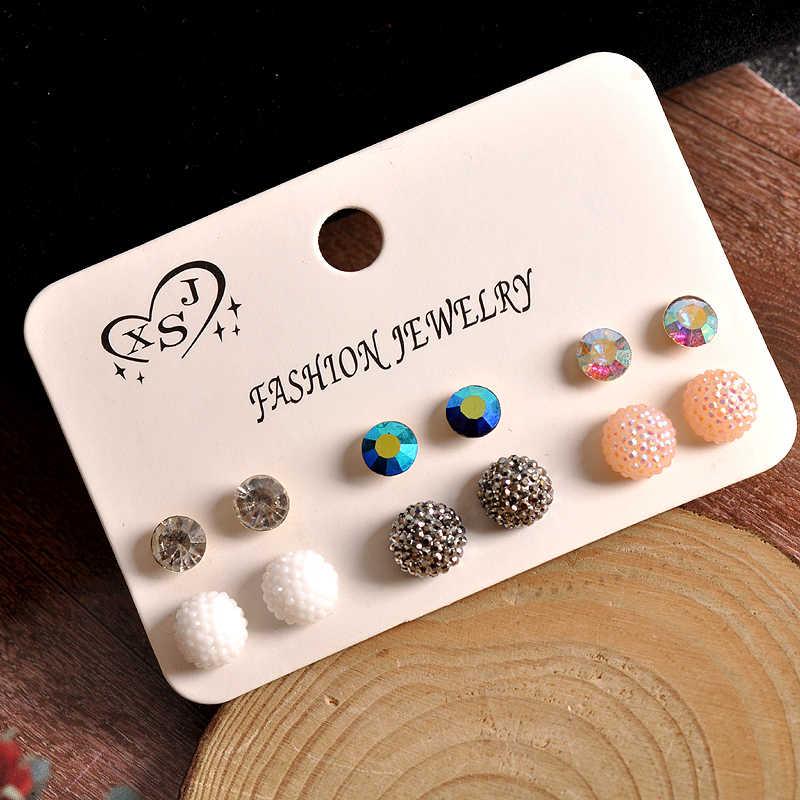 ファッションゴージャスな女性のジュエリー女の子の誕生日パーティー、パール耳ネイル白(ab)色混合スタイル6ペア/セット送料無料
