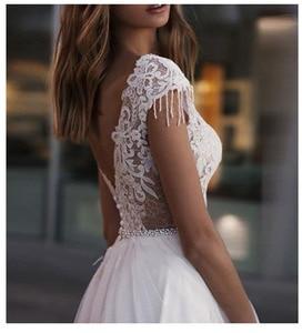 Image 3 - לורי חוף חתונה שמלת 2019 חשוף גב לקיר אורך לבן שנהב תחרה למעלה כלה שמלת רכבת חתונת שמלות