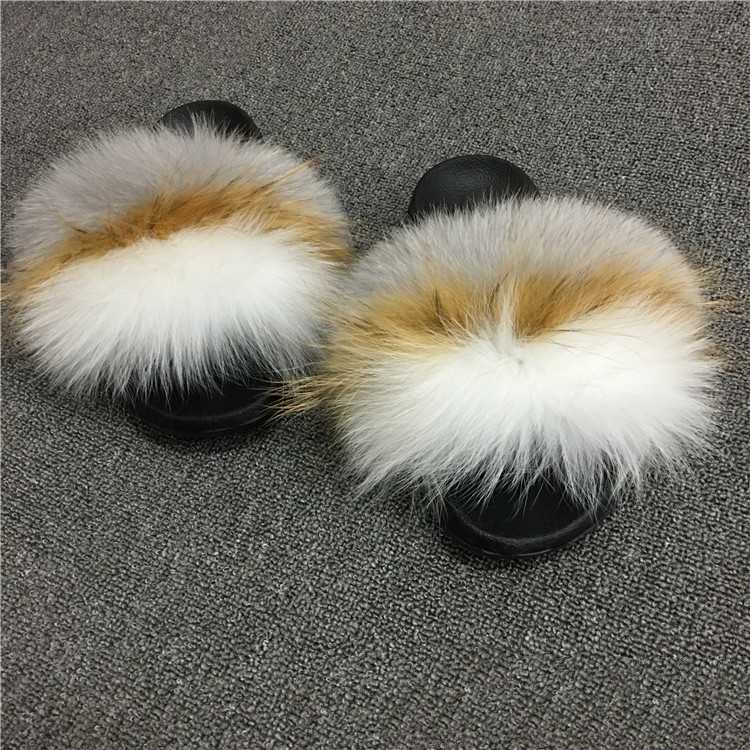 2019 Womens Summer Outdoor Slippers Real Fur Slippers Rainbow Colors Women Slippers Beach Fox Fur Slides,See as pic,13