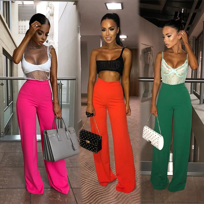 Wide     Leg     Pants   For Women Casual Red Orange Green Trousers 2019 Summer Women Straight Female Comfortable Loose Long Beach   Pants