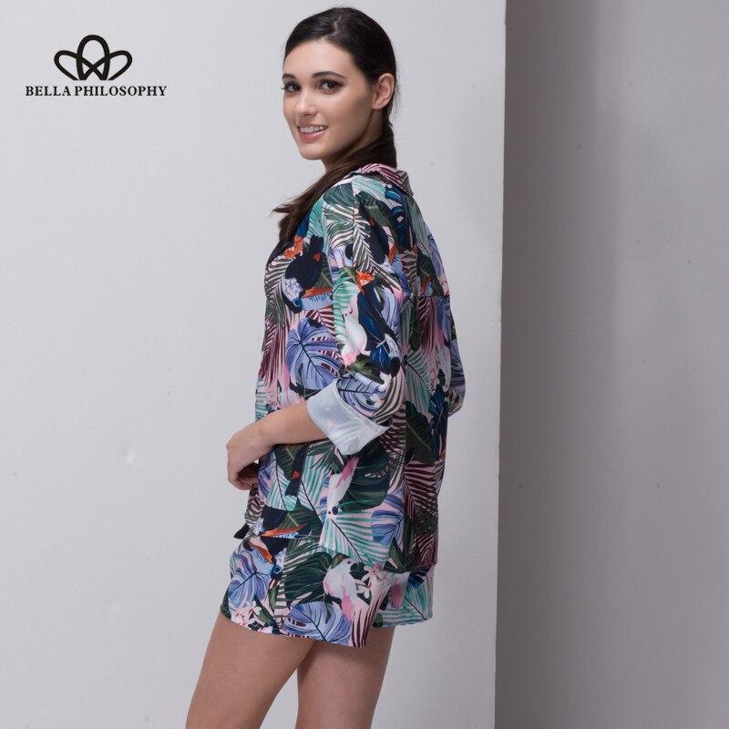 Bella Philosophie 2018 Frauen Sommer tropischen Blumen Vögel drucken - Damenbekleidung - Foto 4