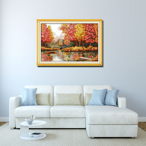 Image 2 - Kit de point de croix paysage, peinture créative âge doré, peinture décorative avec meubles, collection automne, broderies