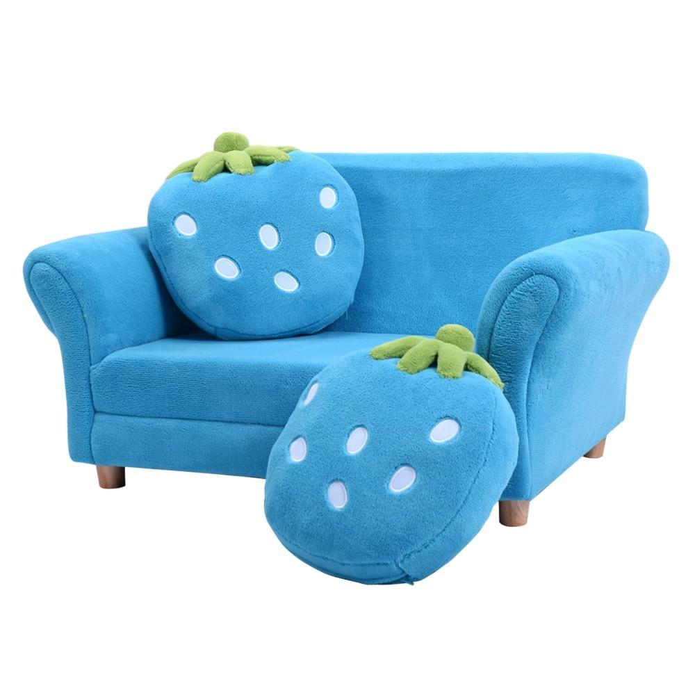 Nino Sofa Cama Espuma Con 2 Almohadas Dormir Descanso Mueble Sillon Infantil (Azul)