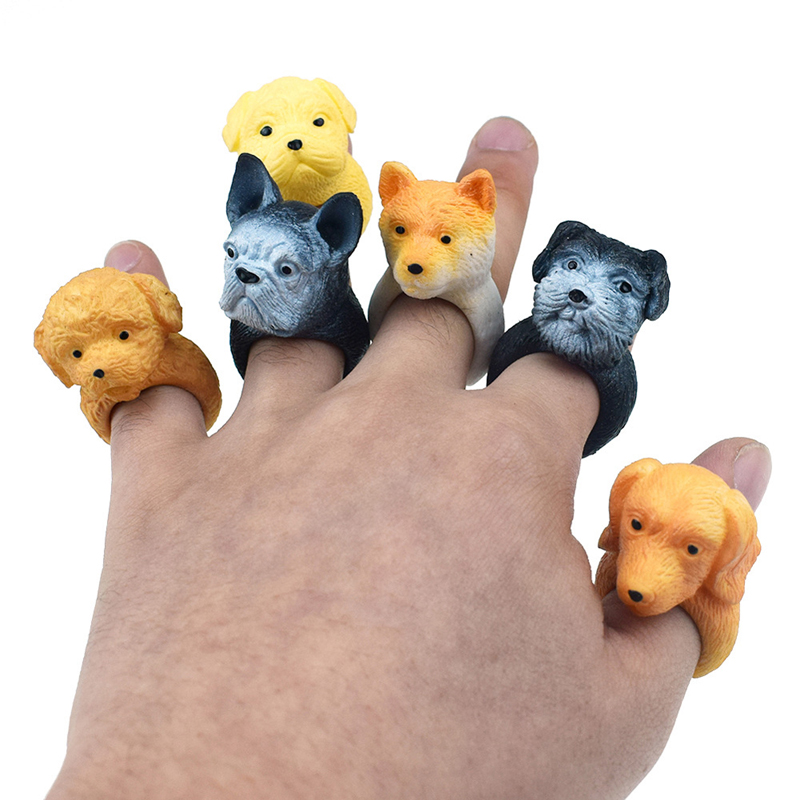 Mini Cute 3D Animal Dog Rings Cute Dog Finger Rings Toys For Children Rings Jewelry Rings Toys Girls Beauty Toys Finger Doll Toy