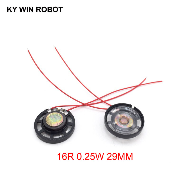 Electronic Components & Supplies Open-Minded 2pcs/lot New Ultra-thin Toy-car Horn 16 Ohms 0.25 Watt 0.25w 16r Speaker Diameter 29mm 2.9cm With Wire Finely Processed