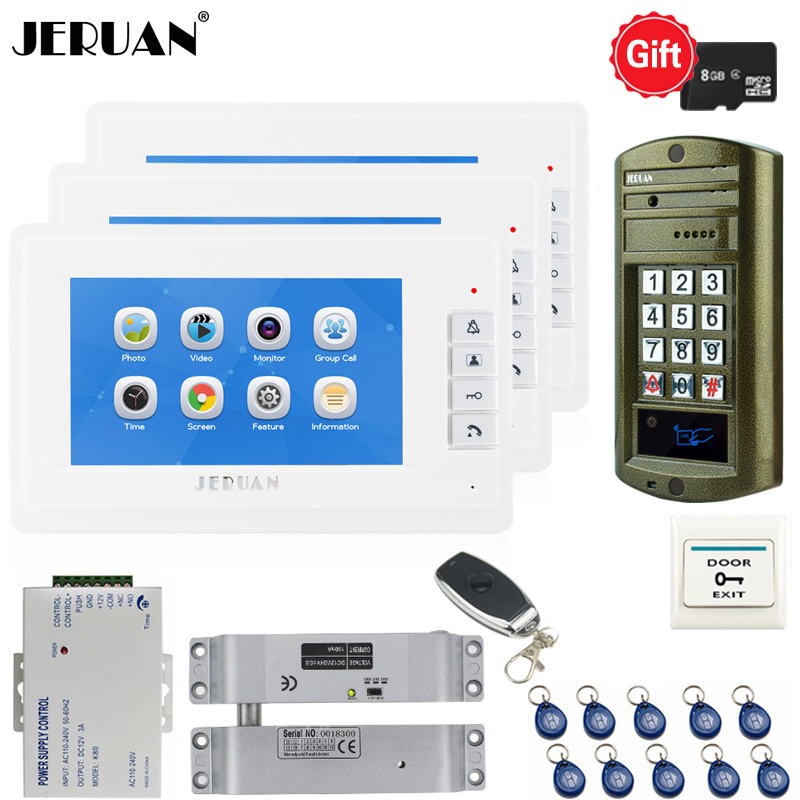 JERUAN 7 inch Video Doorbell Voice/Video Recording Intercom System kit 3 White Monitors+ Waterproof password Access Mini Camera