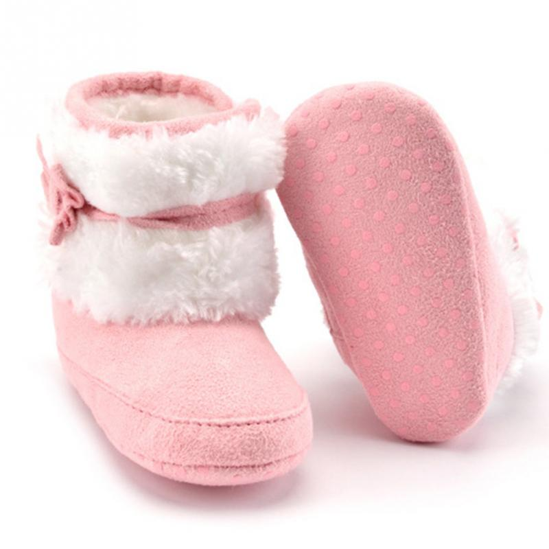Clearance Winter Crib Shoes Cotton Toddler Boots Prewalkers Baby Bowknot Keep Warm Soft Sole Snow Boots 0-18M