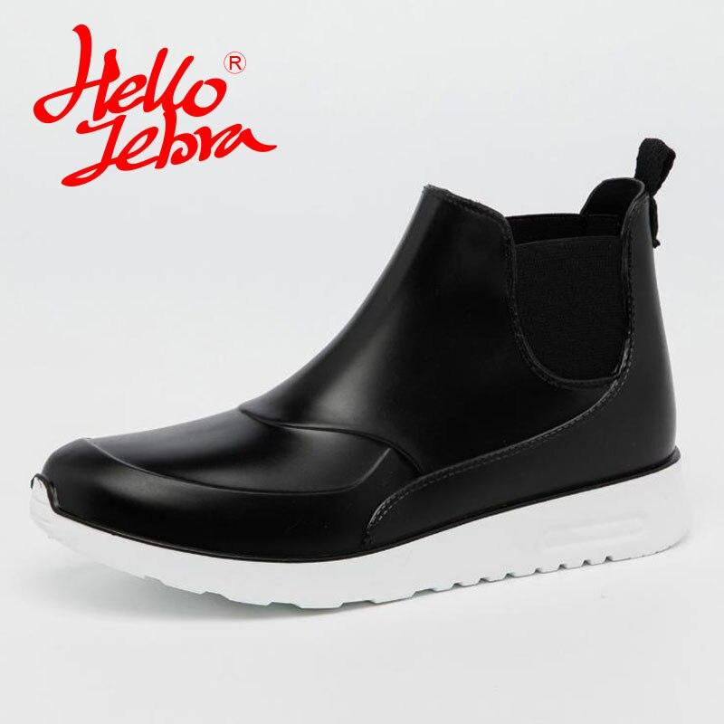 Hellozebra Women Rain Boots Lady High shoes platform boots Low Heels Waterproof Buckle Polka Dot 2017 New Fashion Design hellozebra women rain boots lady low heels solid plain elatic waterproof welly buckle nubuck rainboots 2016 new fashion design