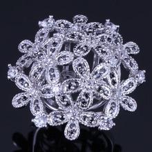 Romantic Huge Flower Black Cubic Zirconia White CZ 925 Sterling Silver Ring For Women V0524