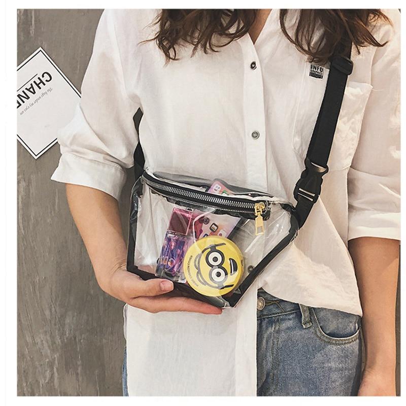 Summer Transparent Waist Bag Clear PVC Fanny Packs Young Girls Waterproof Travel Chest Bag Plastic Casual Bum Bag 030206