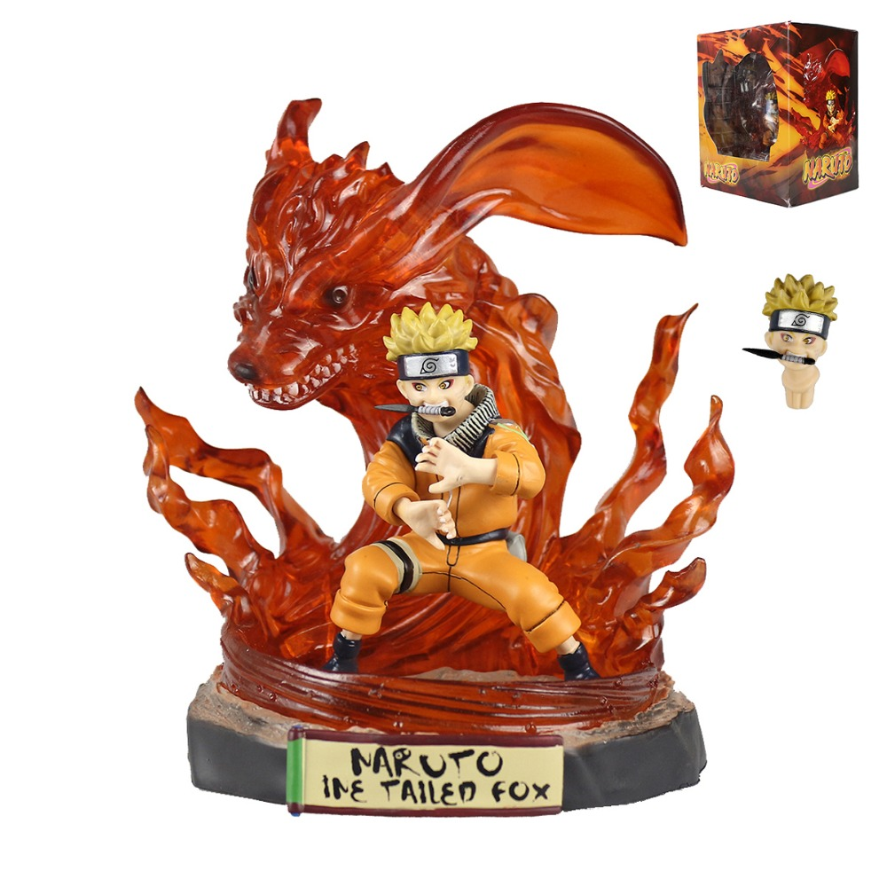 Naruto Shippuden GK Uzumaki Naruto Kurama Kyuubi Ine Tailed Fox Figure Statue 18cm/7'' HY088 ynynoo new arrivla anime naruto comics nine tailed fox pvc action figure golden uzumaki naruto kurama model action