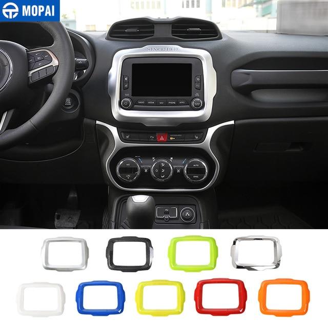 MOPAI Auto Center GPS Navigation Dekoration Rahmen Abdeckung Innen Aufkleber Zubehör für Jeep Renegade 2015 2017 Auto Styling