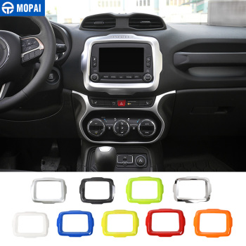 MOPAI Car Center GPS Navigation Decoration Frame Cover Interior Stickers Accessories for Jeep Renegade 2015-2017 Car Styling mopai lamp hoods for jeep renegade 2019 car front fog light lamp decoration cover for jeep renegade 2019 accessories